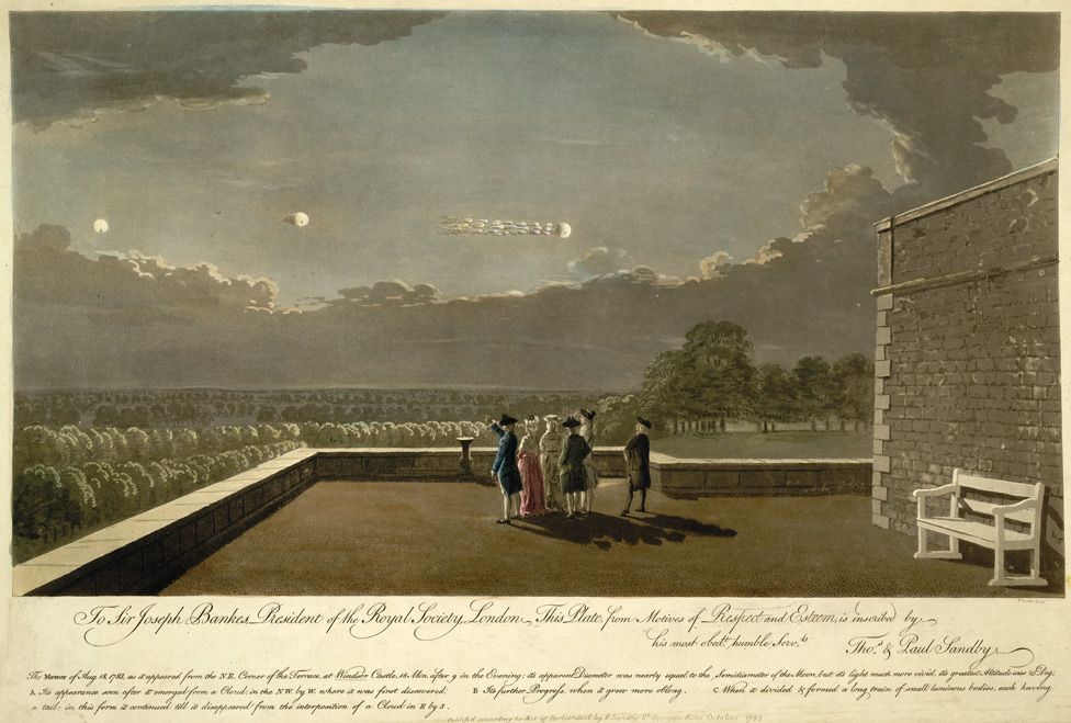 The Meteor of Aug 18, 1783, as it appeared from the NE Corner of the Terrace at Windsor Castle...etc